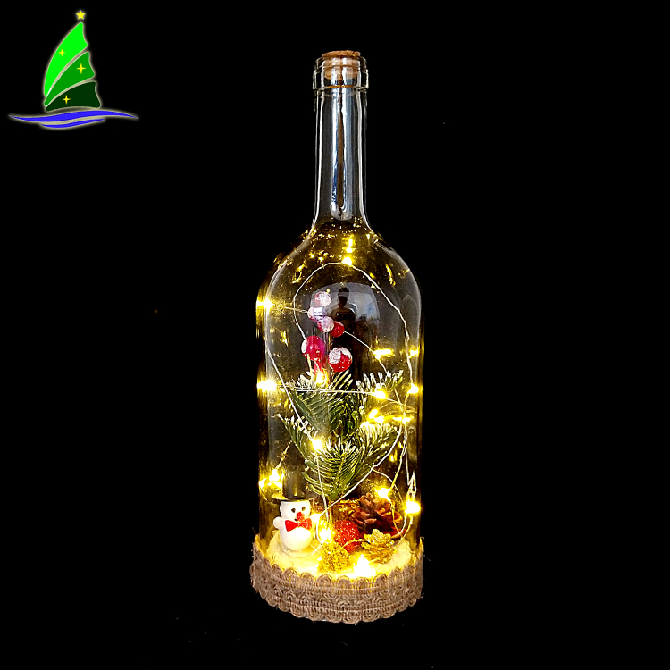 Glass Bottle with String Lights