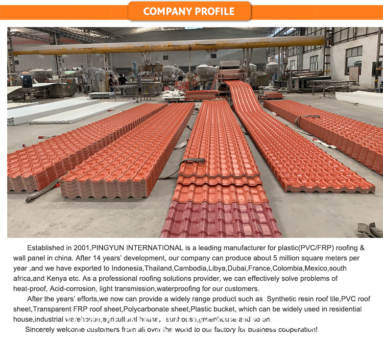 apvc roofing tiles for pavilion