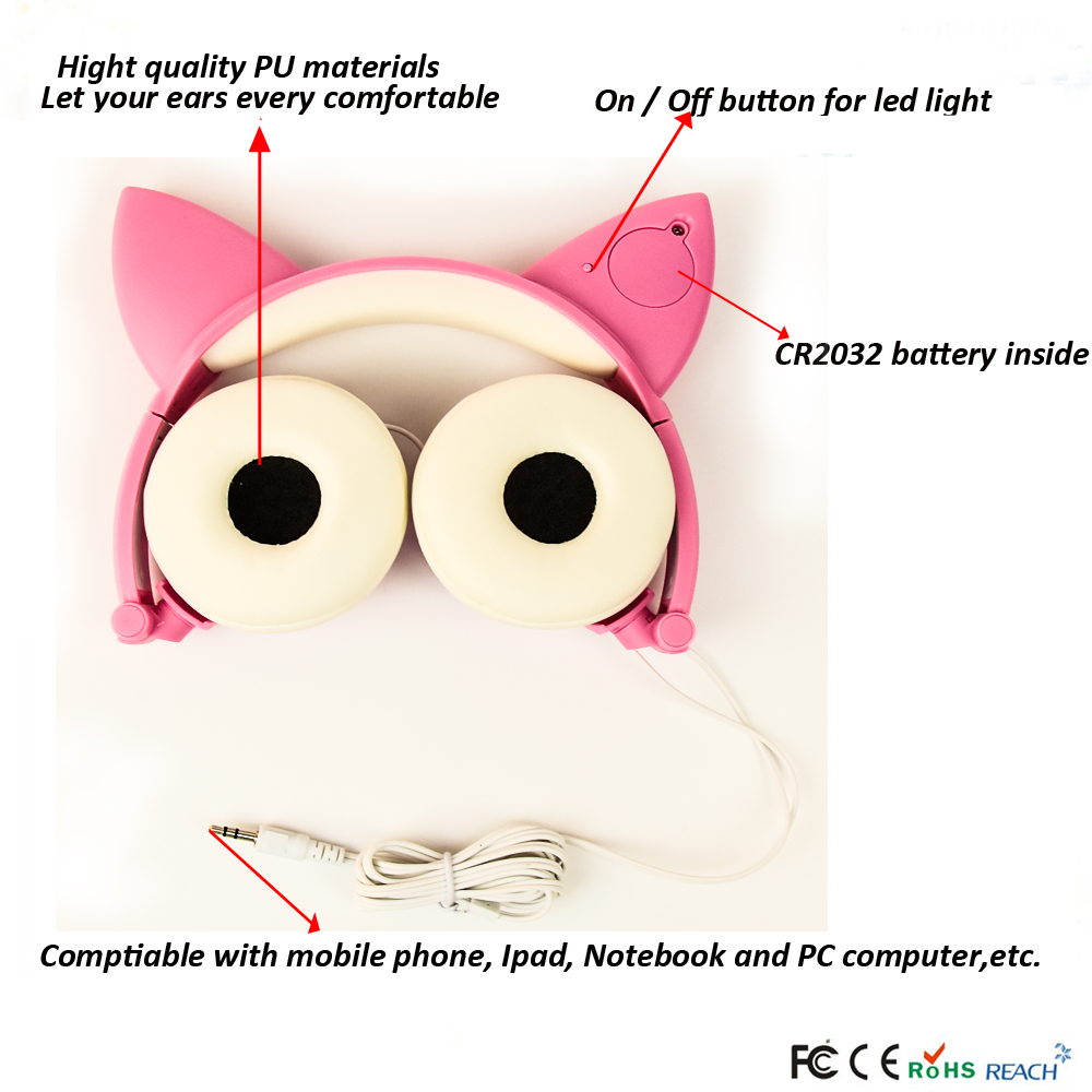 Headphone with LED light